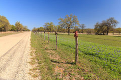 Cowboy Boot Road. A barbed wire fence, with boots on the post, separates the bluebonnets from the road on Willow City Loop, Texas royalty free stock photography