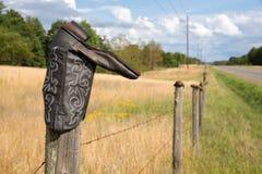 Cowboy Boot sul recinto Post Fotografia Stock Libera da Diritti