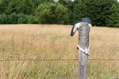 Cowboy Boot sul recinto Post con lo spazio della copia Immagini Stock Libere da Diritti