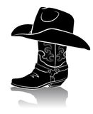 Cowboy boot and western hat.Black graphic Stock Images