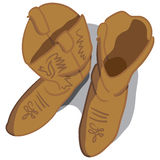 Cowboy boots. Vector illustration of cowboy boots looking top down Royalty Free Stock Photography