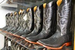 Cowboy boots in TX. Black cowboy boots in Fredericksburg, Texas stock photos