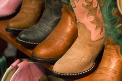 Cowboy boots. On dispaly in the store stock image