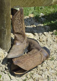Cowboy Boots. American Western Cowboy Boots for ranching royalty free stock images