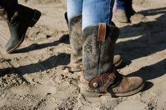 Cowboy boots. On the barn yard stock photo