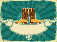 Cowboy boots card on old paper .Vintage background. For text royalty free illustration