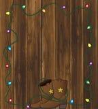 Cowboy Boots con le luci di Natale illustrazione di stock