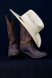 Cowboy boots and cowboy hat still life Royalty Free Stock Photo