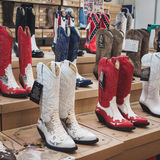 Cowboy boots on display at Rocking the Park event in Milan, Italy Royalty Free Stock Photography