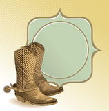 Cowboy boots in engraving style Stock Photos