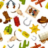 Cowboy, boots, guns and other wild west objects in cartoon style. Vector seamless pattern vector illustration