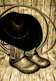 Cowboy Boots Hat and Rope Royalty Free Stock Images