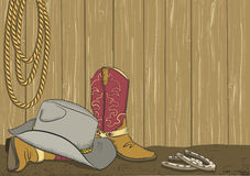 Cowboy boots and hat.Vector. Color background Stock Images