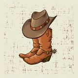 Cowboy boots and hat.Vector graphic illustration on old grunge background vector illustration