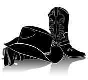 Cowboy boots and hat.Vector grunge background