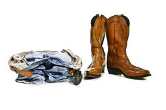 Cowboy boots jeans Royalty Free Stock Images