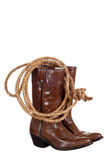 Cowboy boots with a lasso Stock Photo