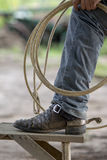 Cowboy boots. With a lasso Royalty Free Stock Photography