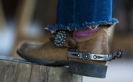 Cowboy boots. With a lasso royalty free stock image