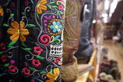 Cowboy boots: Mexican embroidery skull detail Royalty Free Stock Photography