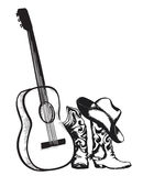 Cowboy boots and music guitar  on white Royalty Free Stock Image