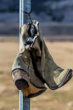 Cowboy Boots On A Post Royalty Free Stock Image