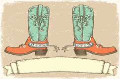 Cowboy boots and scroll for text .Vintage style Royalty Free Stock Photography