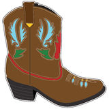 Cowboy Boots Short. A  single brown short cowboy boot with a fancy design Royalty Free Stock Images