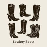 Cowboy boots silhouette Collection in retro style royalty free illustration