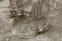 Cowboy boots & spurs Royalty Free Stock Photo