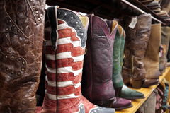 Cowboy boots: stars and stripes flag. US stars and stripes leather cowboy boots for sale in Austin, Texas Royalty Free Stock Photo