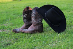 Cowboy  Boots and Stetson. Still life of beautiful cowboy boots with stetson hat Stock Photos