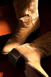 Cowboy Boots Still Life. Pair of cowboy boots waiting to be put on in bright sunlight Stock Image