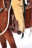 Cowboy boots in stirrups in vertical photograph royalty free stock image