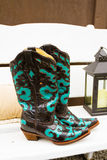 Cowboy Boots Wedding Shoes. These cowboy or cowgirl boots are ready for the bride to wear them while walking down the aisle at a county wedding in Oregon stock image