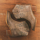Cowboy boots on wooden background Royalty Free Stock Photos