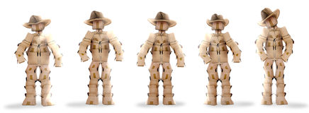 Cowboy boxmen characters on white Stock Image