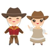 Cowboy boy and girl in national costume and hat. Cartoon children in traditional dress. Isolated on white background. Vector. Illustration Royalty Free Stock Photo