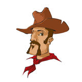 Cowboy with brown hat stock illustration