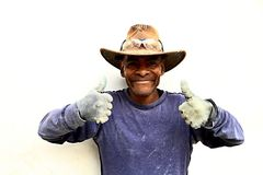 Cowboy builder showing thumbs up Royalty Free Stock Photography