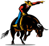 Cowboy bull riding Royalty Free Stock Images