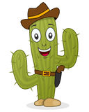 Cowboy Cactus Character with Gun & Hat Stock Images