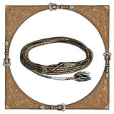 Cowboy calf rope in the western leather frame on white background. Royalty Free Stock Image