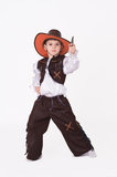 Cowboy carnival costume. Little boy posing in cowboy fancy dress isolated on white Royalty Free Stock Images
