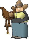 Cowboy Carrying A Saddle Royalty Free Stock Photography