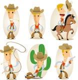 Cowboy cartoon action set Stock Photography