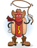 Cowboy Cartoon Character del hot dog Immagini Stock