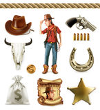 Cowboy cartoon character and objects. Western adventure. Vector icon set Stock Photo
