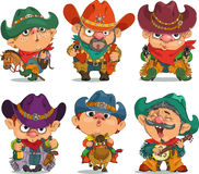 Cowboy. Cartoon cowboy. Funny cartoon. Characters. Cowboy set. Isolated objects royalty free illustration