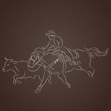 Cowboy Catching Cattle stock illustratie
